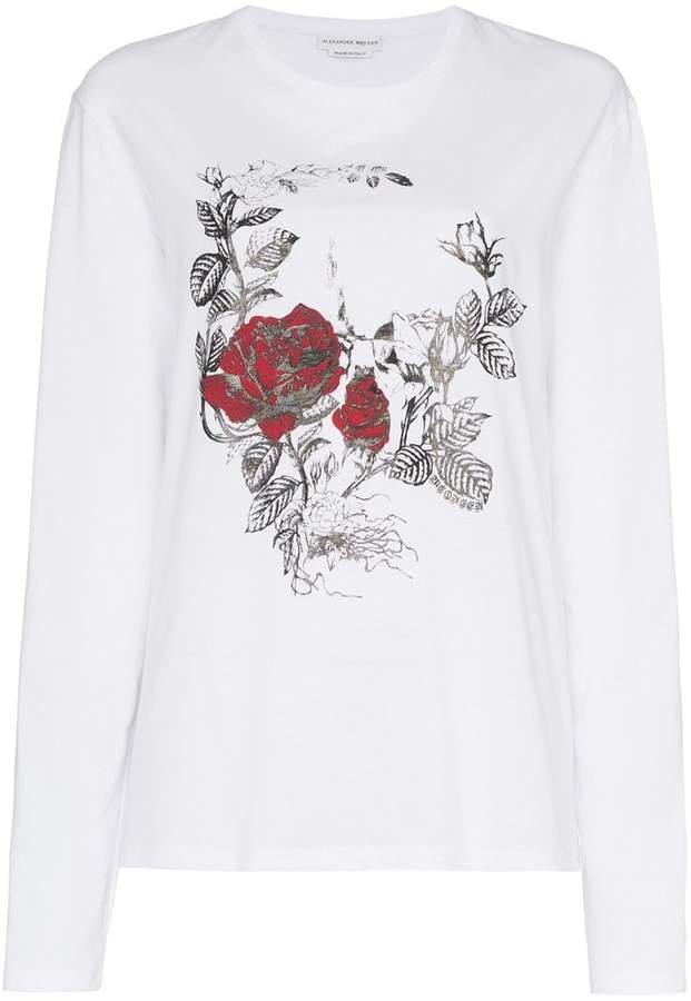 Gothic Rose Skull print cotton long sleeve t shirt