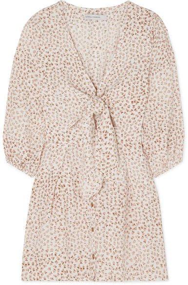 Trinidad Tie-front Floral-print Crinkled-crepe Mini Dress - Pink