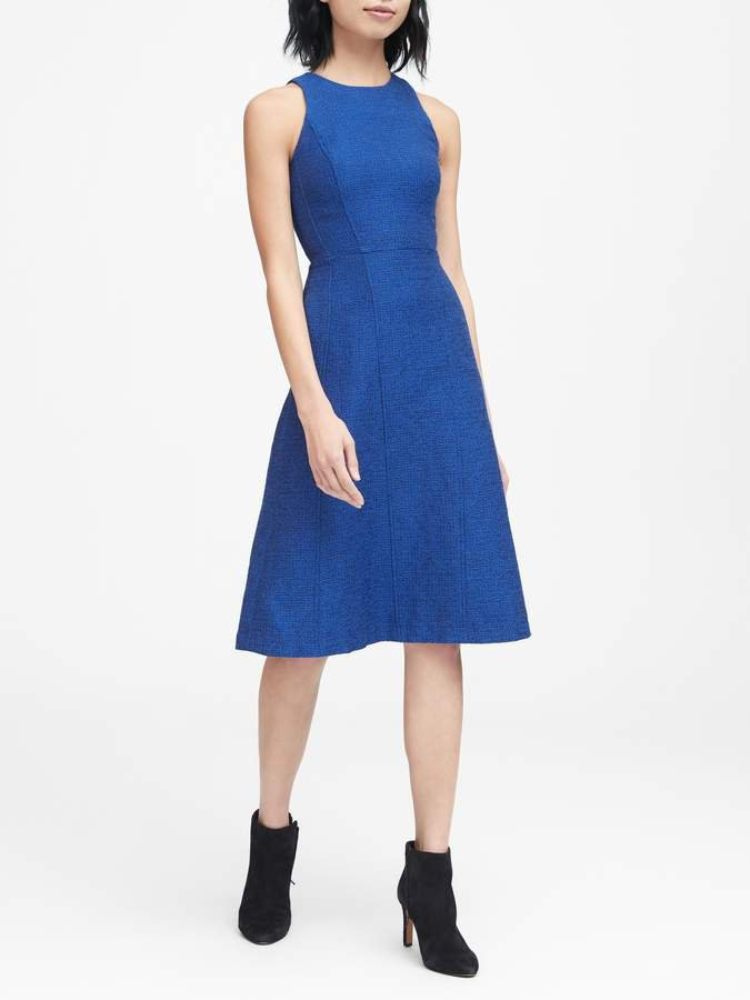 Italian Tweed Fit-and-Flare Dress