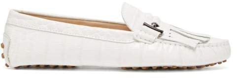 Gommini Fringed Crocodile Effect Leather Loafers - Womens - White