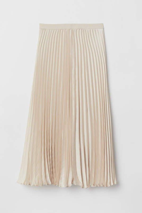 Pleated Satin Skirt - Beige
