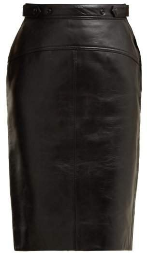 Leather Pencil Skirt - Womens - Black