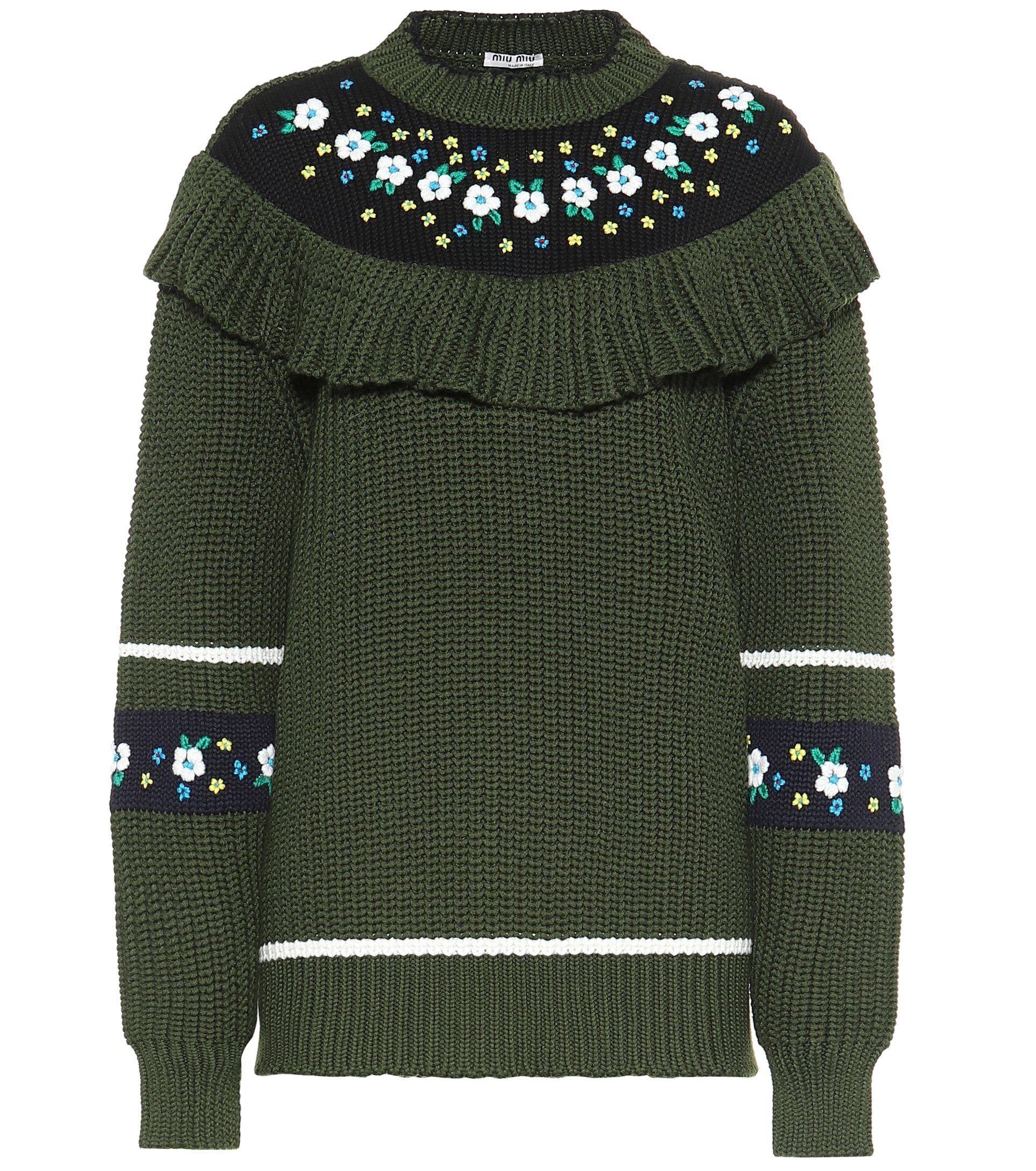 Ruffled Virgin Wool Sweater - Miu Miu | Mytheresa