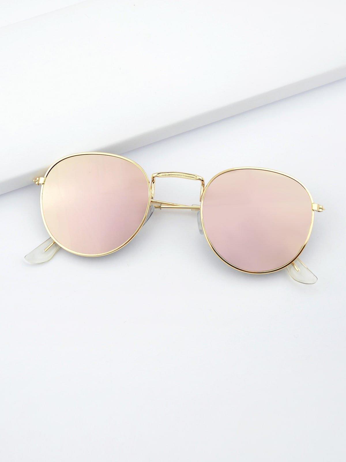Pink Round Oversized Sunglasses | ROMWE