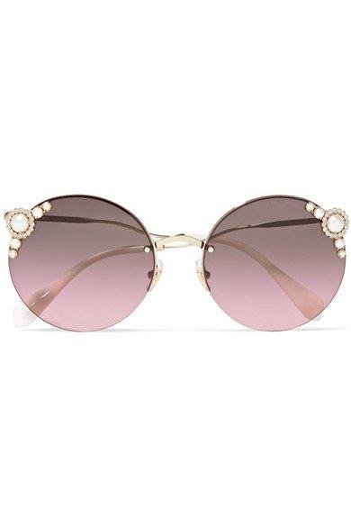 Miu Miu | Round-frame embellished gold-tone sunglasses | NET-A-PORTER.COM