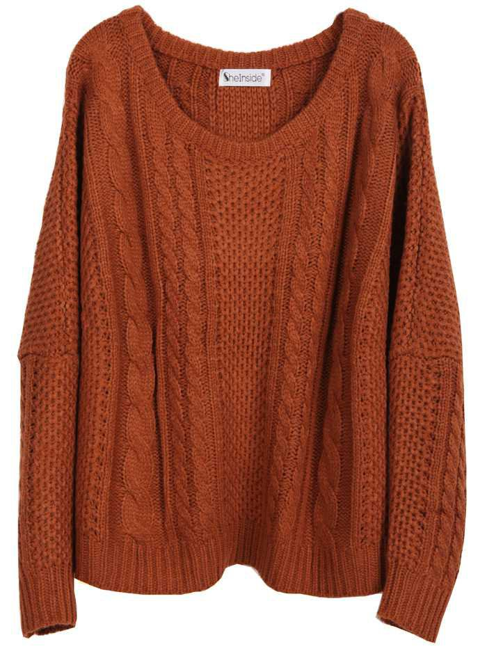 Pumpkin-Cinnamon Cable-Knit Sweater