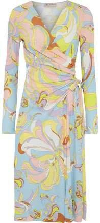 Wrap-effect Printed Jersey Dress