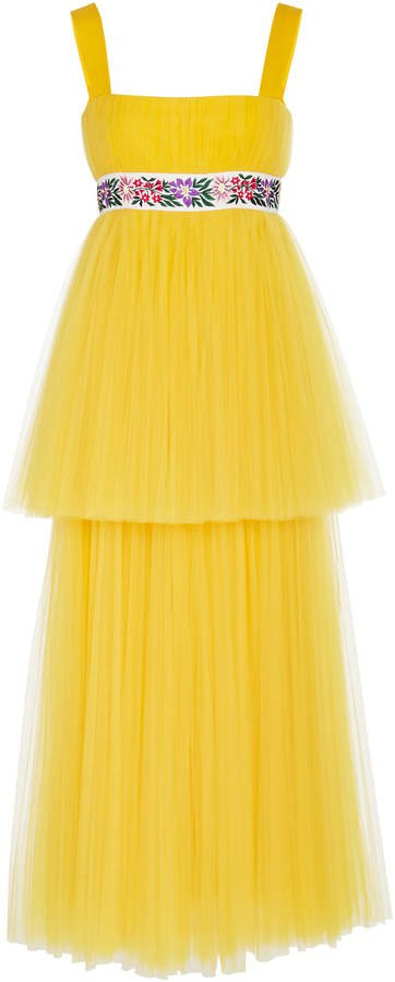 Embroidered Tiered Tulle Dress