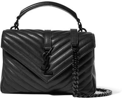 College Medium Quilted Leather Shoulder Bag - Black