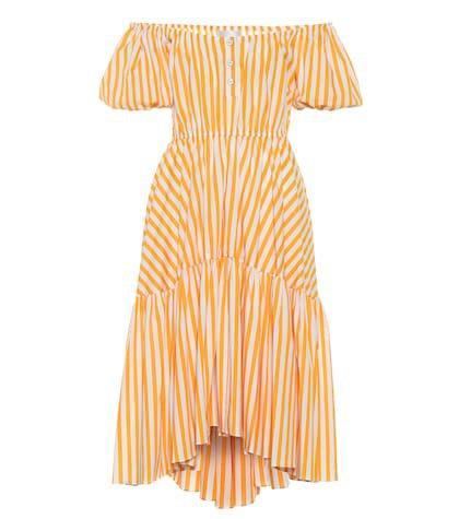 Striped stretch cotton midi dress