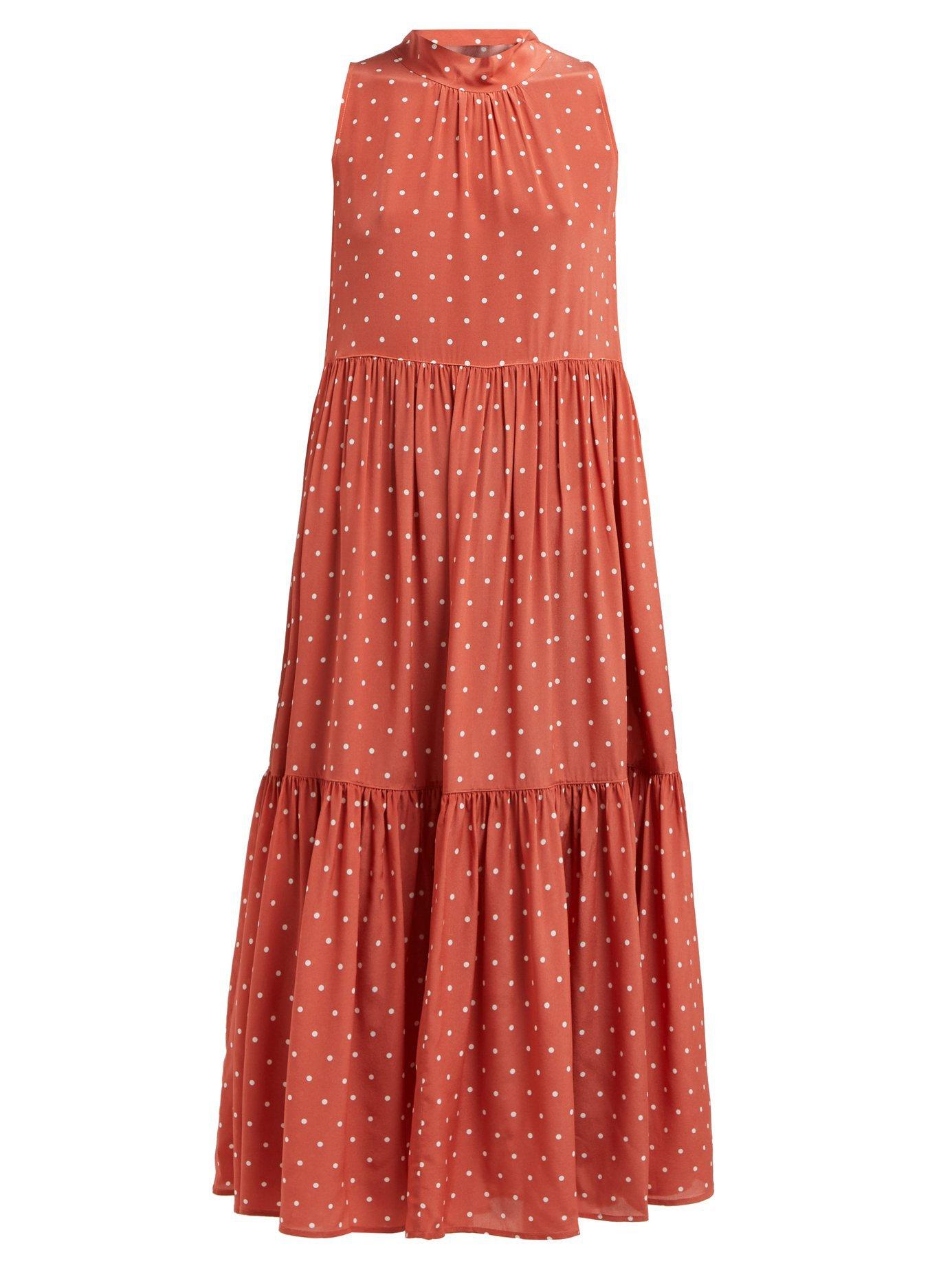 Polka-dot silk-crepe tiered midi dress | Asceno | MATCHESFASHION.COM