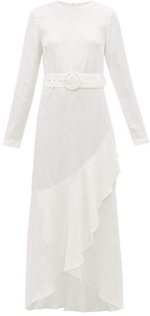 Sir - Inez Belted Linen Blend Dress - Womens - Ivory