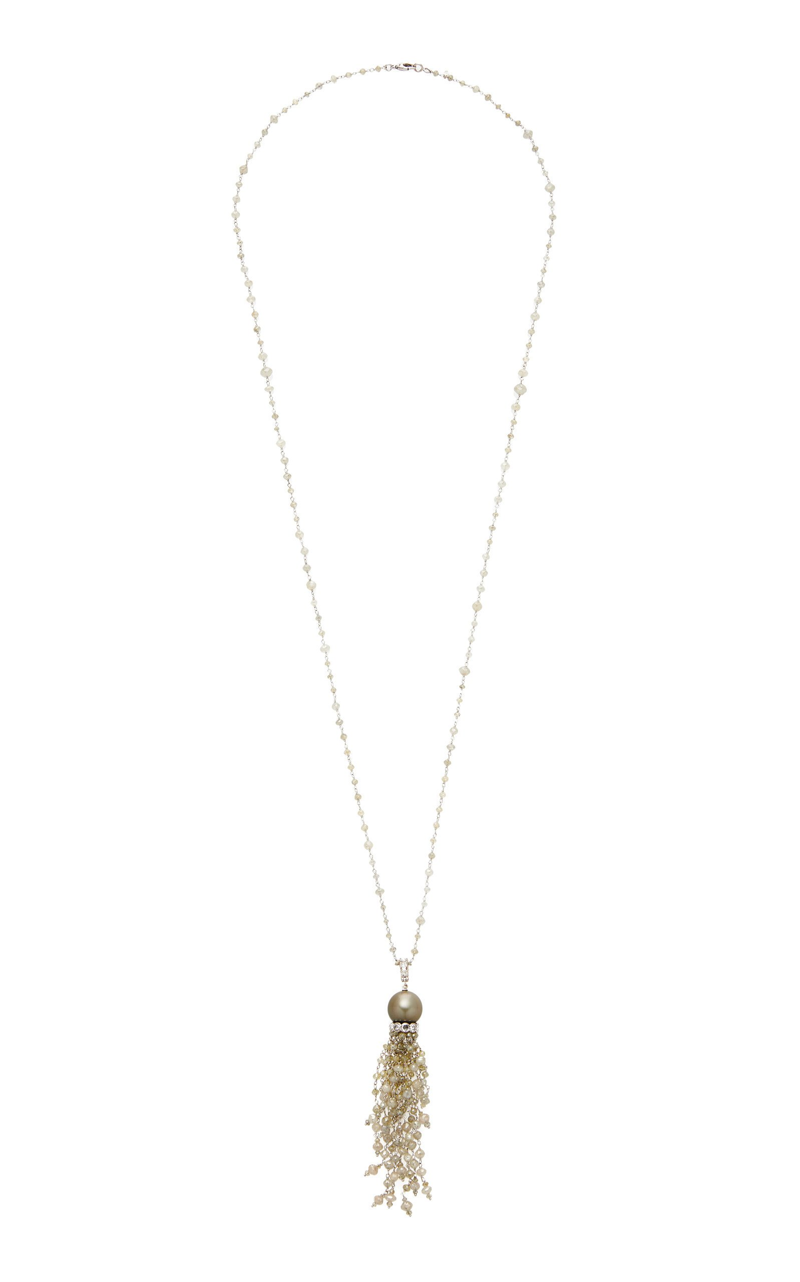 Busatti Pearl And Diamond Tassel Necklace