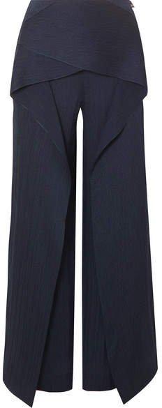 Caldwell Draped Hammered Silk-satin Wide-leg Pants - Navy