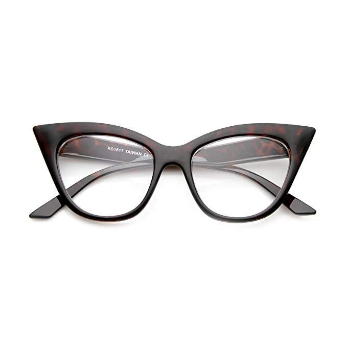 Amazon.com: Women's High Pointed 60's Era Mod Fashion Clear Lens Cat Eye Glasses (Tortoise): Clothing