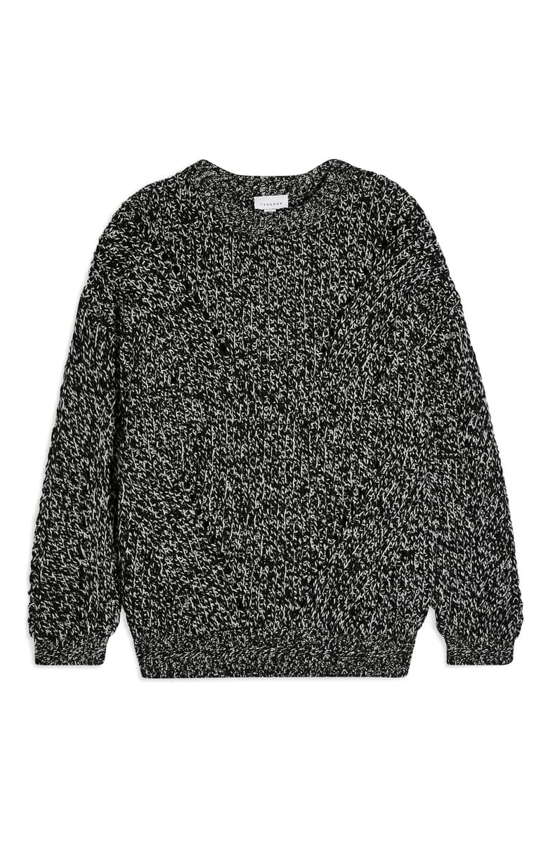 Topshop Chunky Pointelle Sweater Grey | Nordstrom