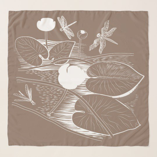Water-lilies engraving scarf | Zazzle.com