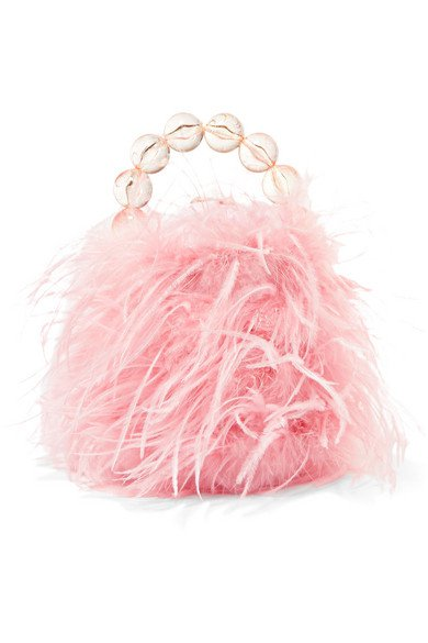 Vanina | Inagua faux pearl and feather tote | NET-A-PORTER.COM