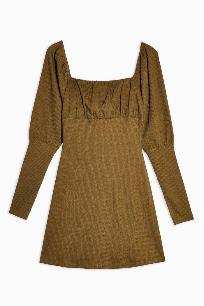 Khaki Crinkle Gypsy Mini Dress | Topshop khaki