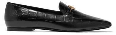 Logo-embellished Glossed Croc-effect Leather Loafers - Black