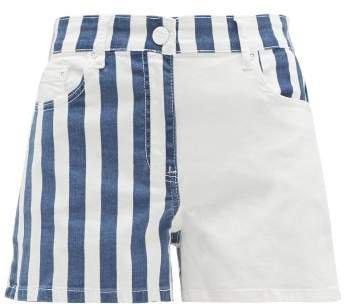 Striped Denim Shorts - Womens - White Multi