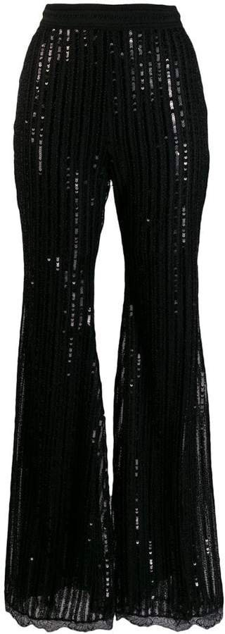 sequinned flared trousers