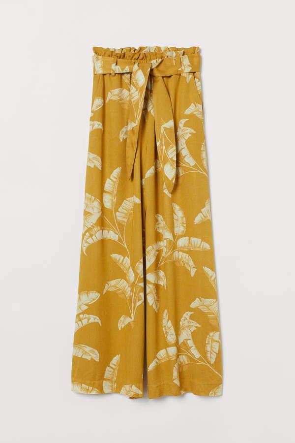 Wide-leg Pants - Yellow