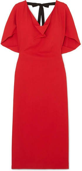 Marianna Grosgrain-trimmed Draped Stretch-crepe Dress - Red