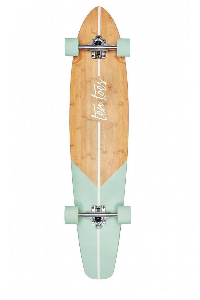 Ten Toes Board Emporium Zed Bamboo Longboard Skateboard Cruiser Aqua F – FitnessOutdoorStore