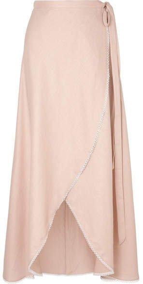Ballerina Crochet-trimmed Linen Wrap Maxi Skirt - Antique rose