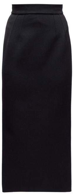 Crepe Pencil Skirt - Womens - Black