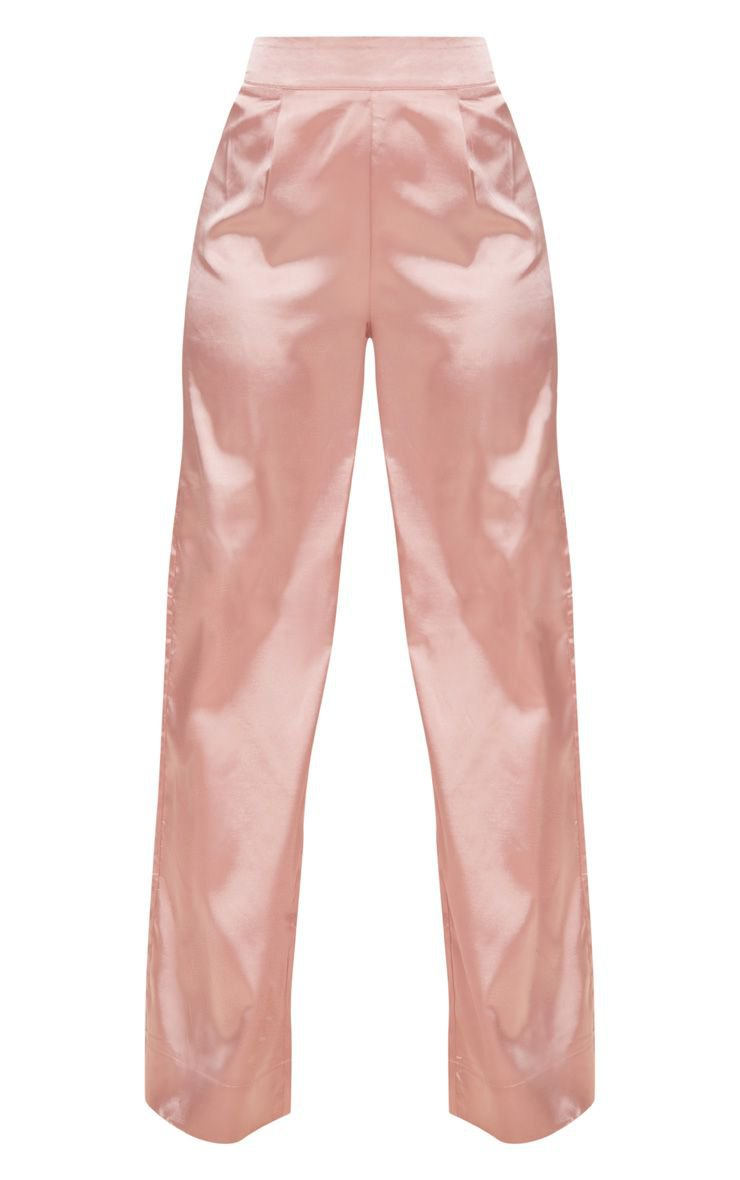 Petite Dusty Pink Satin Wide Leg Trousers | PrettyLittleThing USA