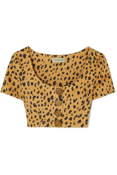 Nicholas | Button-detailed cropped leopard-print Tencel-blend top | NET-A-PORTER.COM