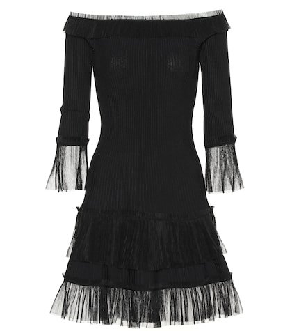 Tulle-trimmed knitted dress