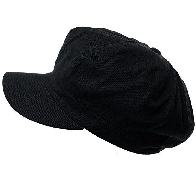 Summer 100% Cotton Plain Blank 6 Panel Newsboy Gatsby Apple Cabbie Cap Hat Black at Amazon Women's Clothing store: