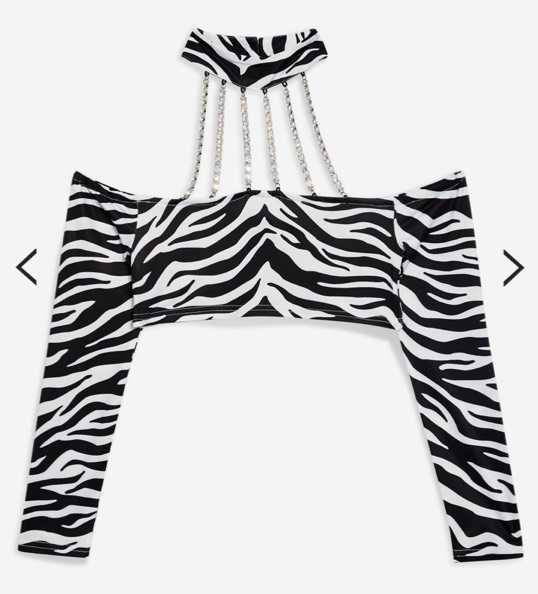 zebra Bardot cropped top jaded London