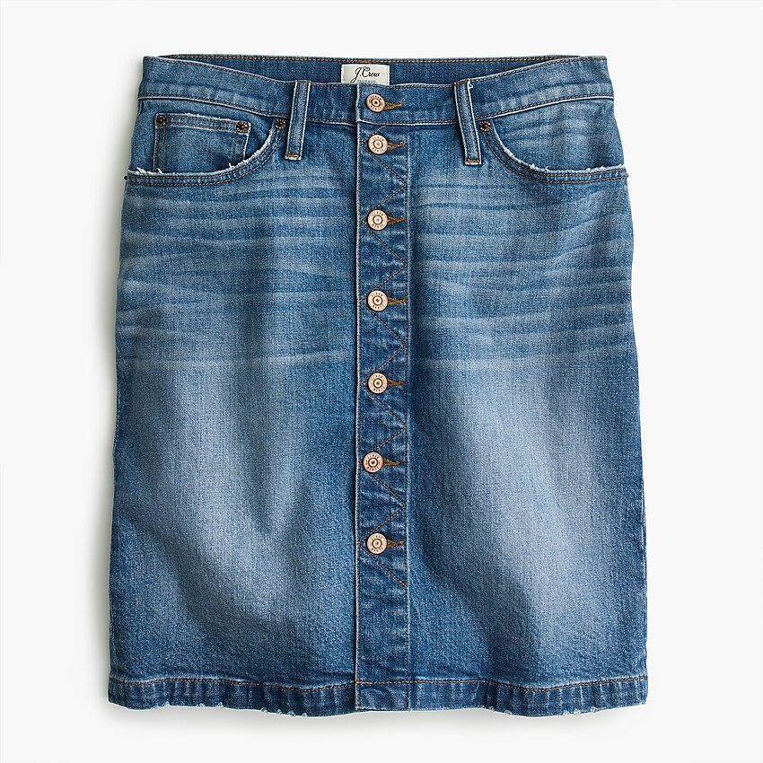 J.Crew: Petite Button-front Denim Skirt