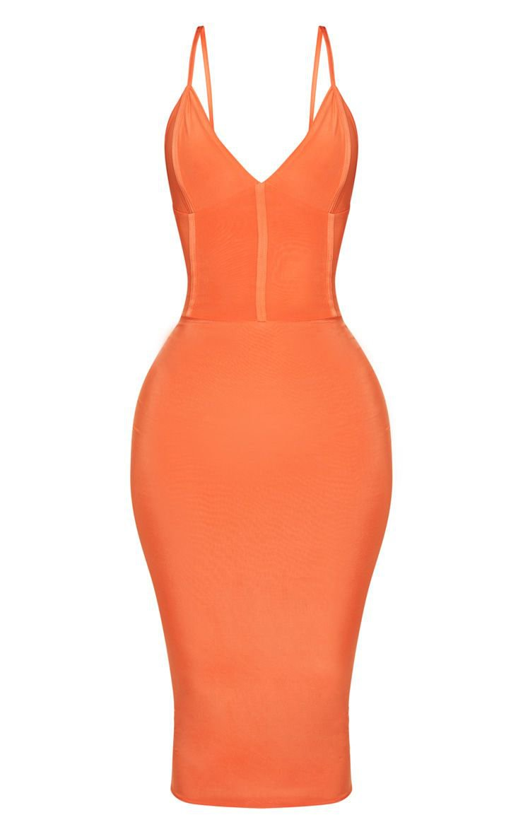 Shape Orange Slinky Panelled Midi Dress | PrettyLittleThing USA