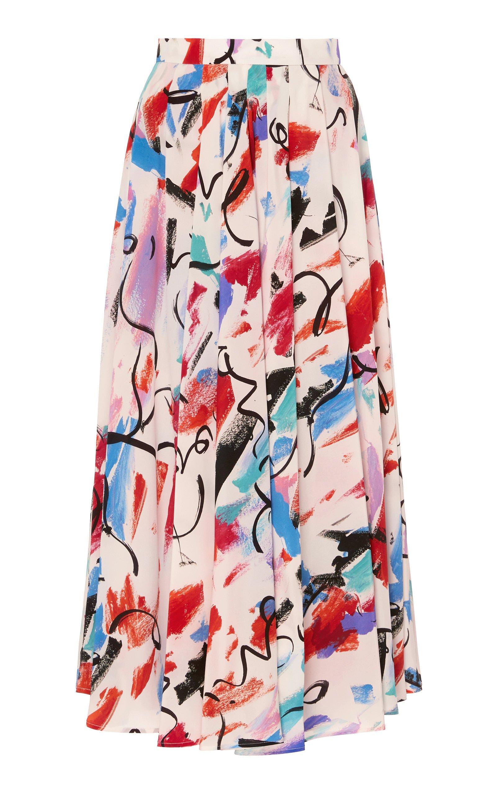 SOONIL Multi Printed Pleated Skirt Size: 8