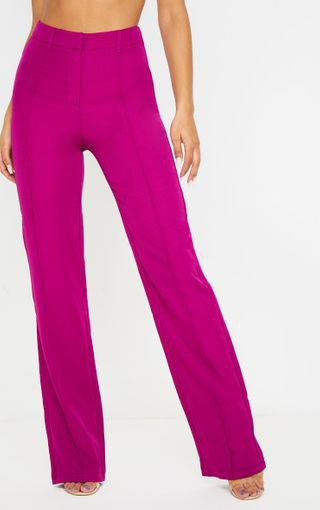 Washed Violet High Waisted Straight Leg Trouser | PrettyLittleThing USA