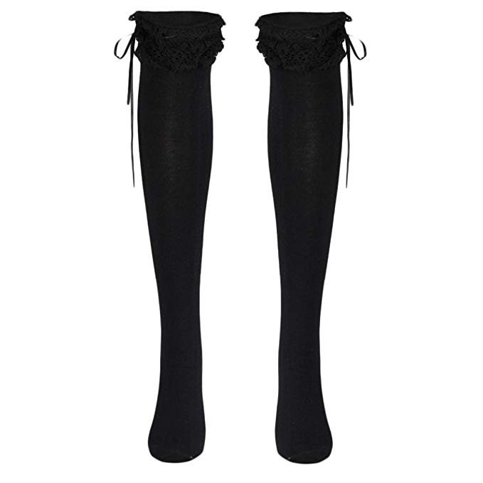 Voberry Womens Girls Lace Top Thigh High Socks Over Knee Leg Warmer Leggings (Black) at Amazon Women's Clothing store: