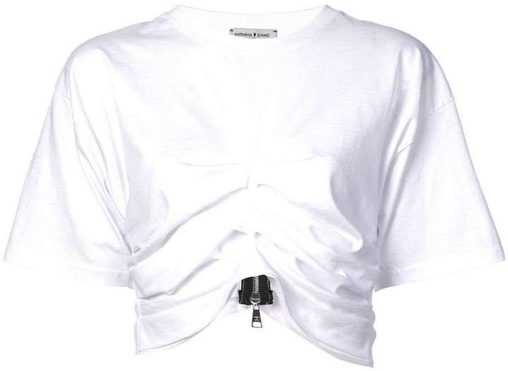 gathered cropped T-shirt