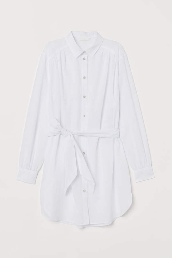 Long Shirt with Tie Belt - White