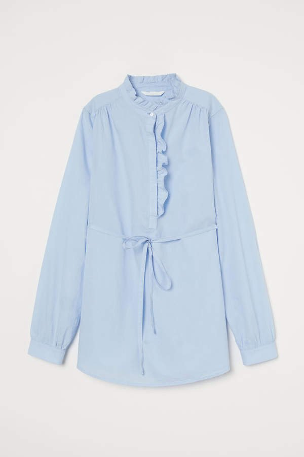 MAMA Blouse with Ruffle Trim - Blue