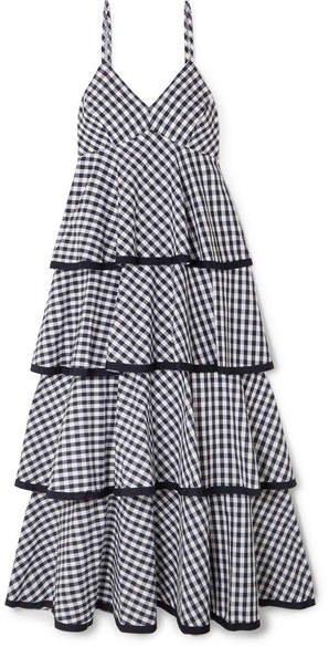 Spiro Tiered Gingham Cotton-poplin Midi Dress - Blue