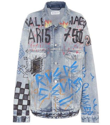 Oversized graffiti denim jacket