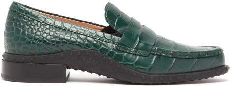 Gommini Crocodile Effect Leather Loafers - Womens - Dark Green