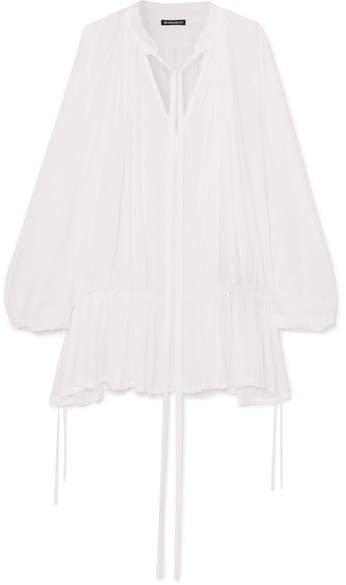 Tie-detailed Ruffled Chiffon Blouse - White
