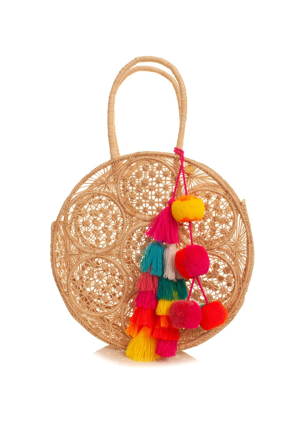 Round straw bag with multicolored prom poms