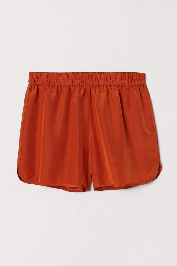 Silk-blend Shorts - Orange